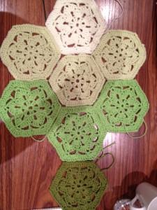 Hexie colour wheel blanket