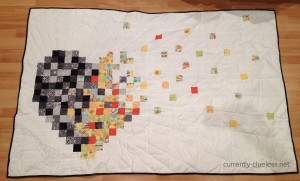 The quilt front - sadness overtaking the happiness and pushing it out of my heart.